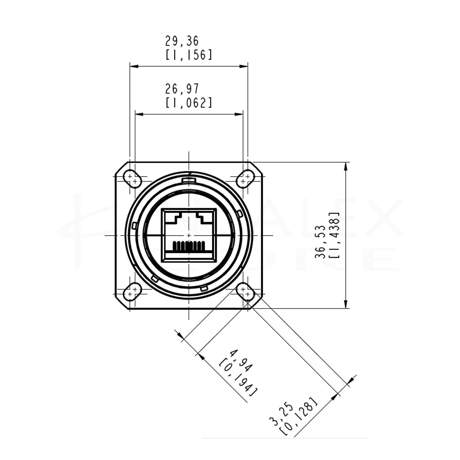 Conector Ethernet Estanco Hembra IP68 ATEX Catx Amphenol RJFTVX2SA1N